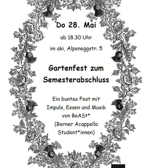 Gartenfest zum Semesterabschluss – FÄLLT LEIDER AUS!
